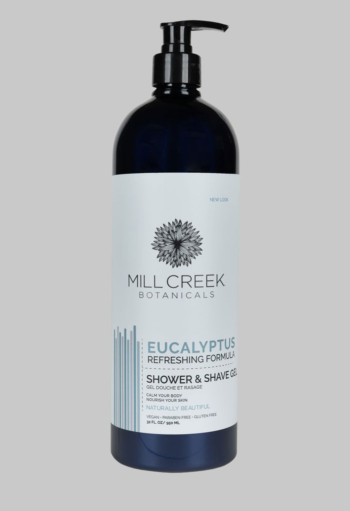 Value Size Eucalyptus Shower & Shave Gel 32 oz (NEW LOOK) - Mill Creek Botanicals