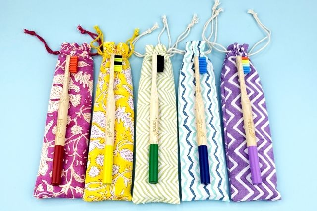 mamap duets of bamboo brushes and cotton bags