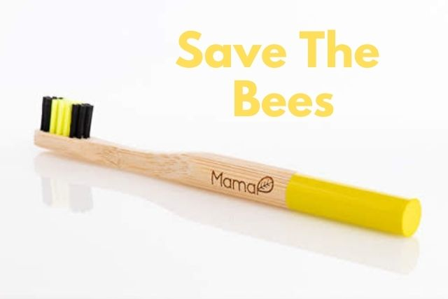 save the bees yellow mamap bamboo toothbrush