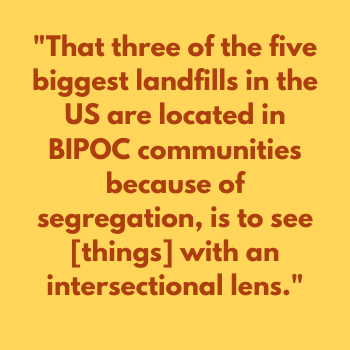 "MamaP meme quote that says: ""That three of the five biggest landfills in the US are located in BIPOC communities because of segregation, is to see [things] with an intersectional lens."""