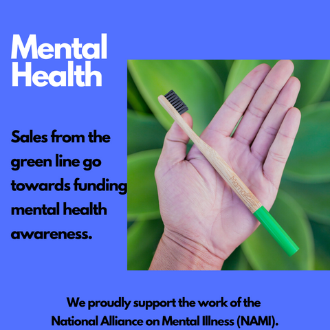 MamaP green bamboo toothbrush supports mental health. Sustainable and eco-friendly, use less plastic everyday starting and ending your day with brushing.