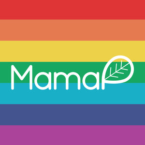 MamaP rainbow flag logo for pride month. MamaP stands for pachamama.