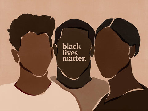 black lives matters art work of three black people with no faces. Art by sacree frangine
