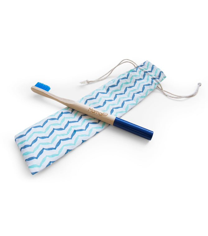1 ocean blue bamboo toothbrush and 1 blue cotton bag