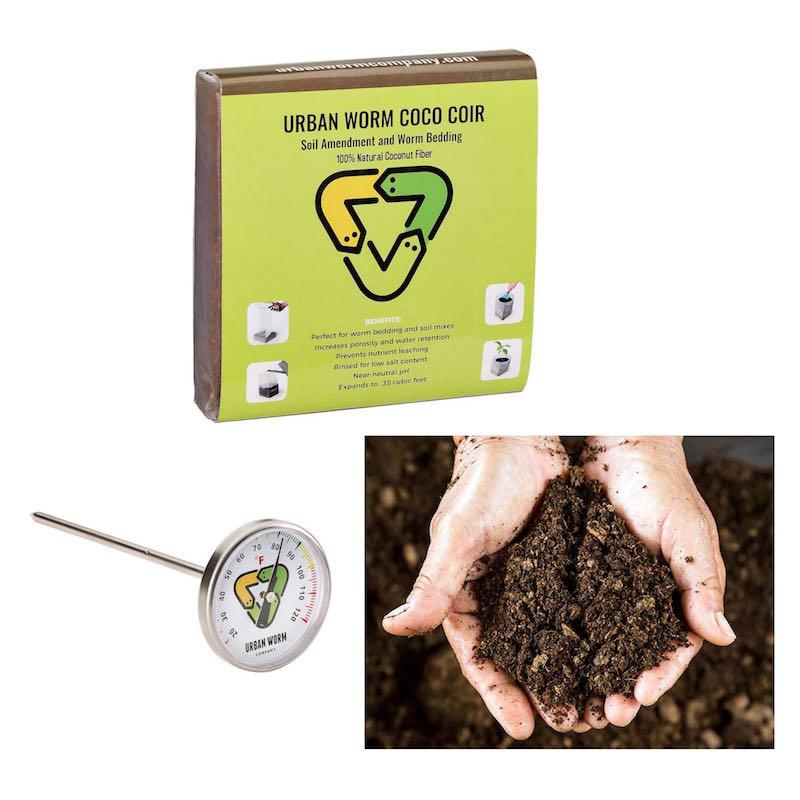 Coco Coir, Castings & Thermometer Bundle Soil Urban Worm Company