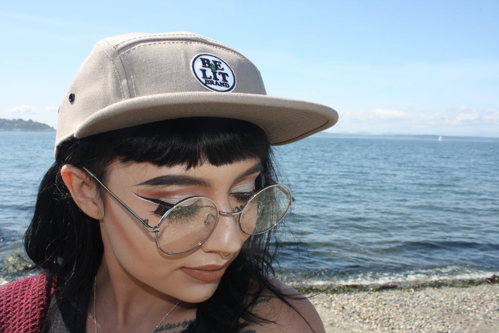 "Be Lit 5-Panel Hat in Khaki, ""Be Lit Brand"" PatchBe Lit Brandbelitbrand"