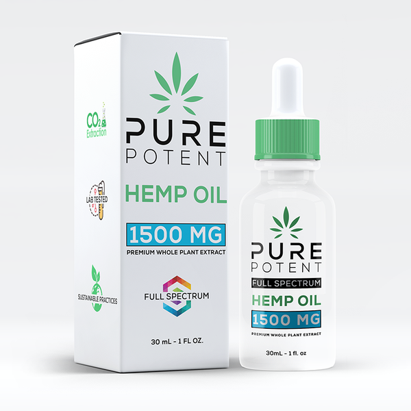 Pure Potent CBD Oil 1500MG 1oz All Natural - 30mL Dropper Bottle