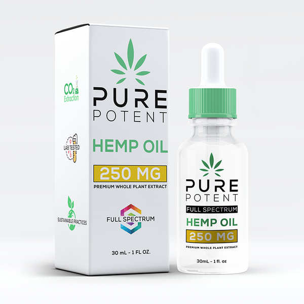 Pure Potent CBD Oil 250MG 1oz All Natural - 30mL Dropper Bottle