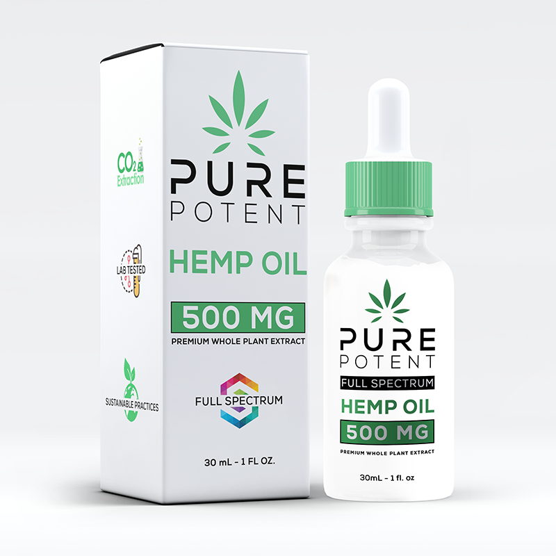 Pure Potent CBD Oil 500MG 1oz All Natural - 30mL Dropper Bottle