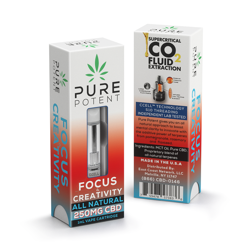 Pure Potent CBD Vape – Focus & Creativity - 250mg Vape Cartridges