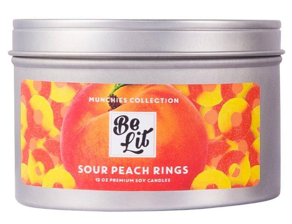 Be Lit Munchies Collection 12oz Odor Eliminating Terpene Candle, Sour Peach Rings