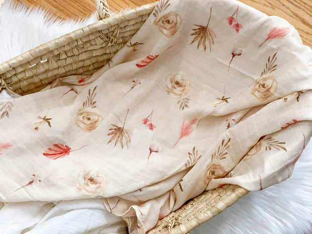 Boho Floral Bamboo Cotton Muslin Baby Swaddle Blanket 1