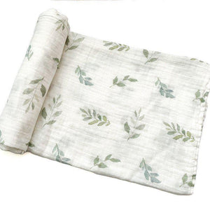 Green Leaves Bamboo Muslin Swaddle Blanket
