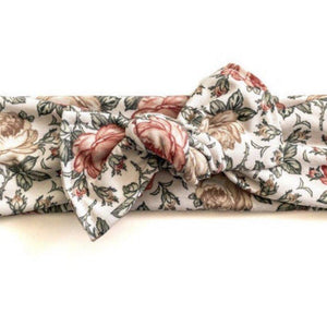 Rust & Cream Vintage Floral Knotted Bow Headband