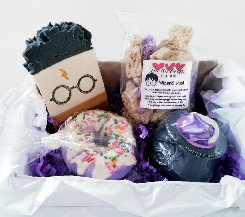 Harry Potter gifts. Handmade goat milk soaps and bath bombs. Soaps made with tallow and are palm free