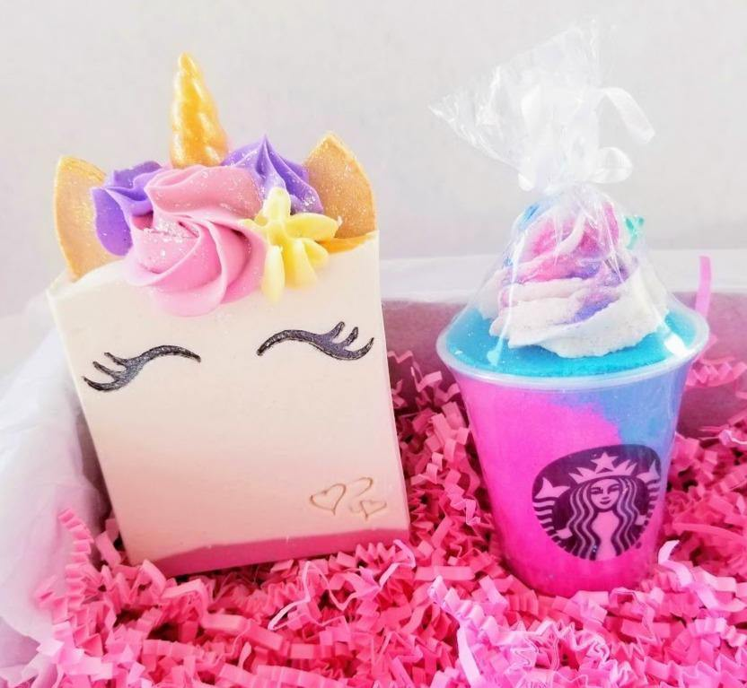 Smiling Unicorn soap and starbucks bath bomb - Trinity Soaps