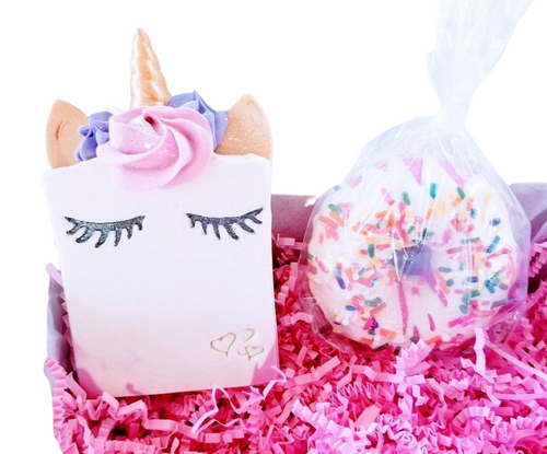 Sleepy Unicorn soap and pink bath bomb donut - Trinity Soaps