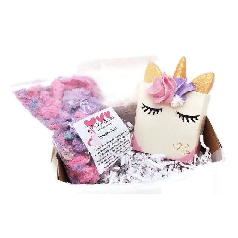 Unicorn soap gift set with bath bomb fizzies