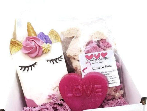 Unicorn gift set with bath bomb fizzies and heart soap - Trinity Soaps