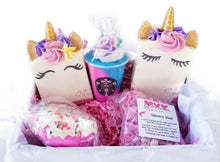 Load image into Gallery viewer, Unicorn bar soap gifts, deluxe handmade gift box with bath bombs - Trinity Soaps