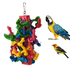 Colorful Sisal Cotton Rope Chewing Climbing Toy for Pet Bird Products