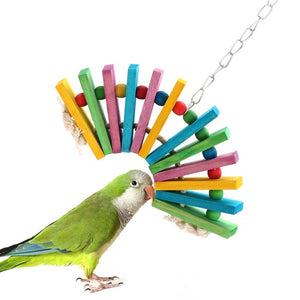 1 Pcs Parrot Toy Wood Block