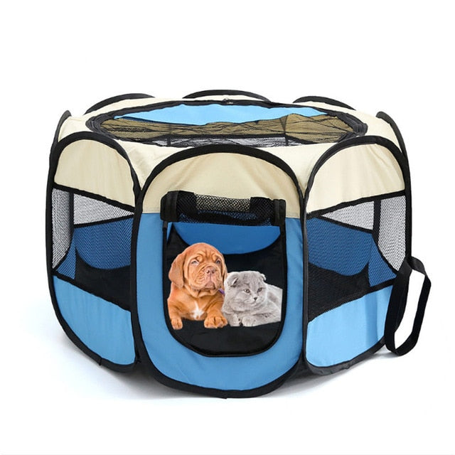 Portable Folding Pet Tent Dog House Cage Dog Cat Tent Playpen Puppy Kennel Easy Operation Octagonal Fence Outdoor Supplies
