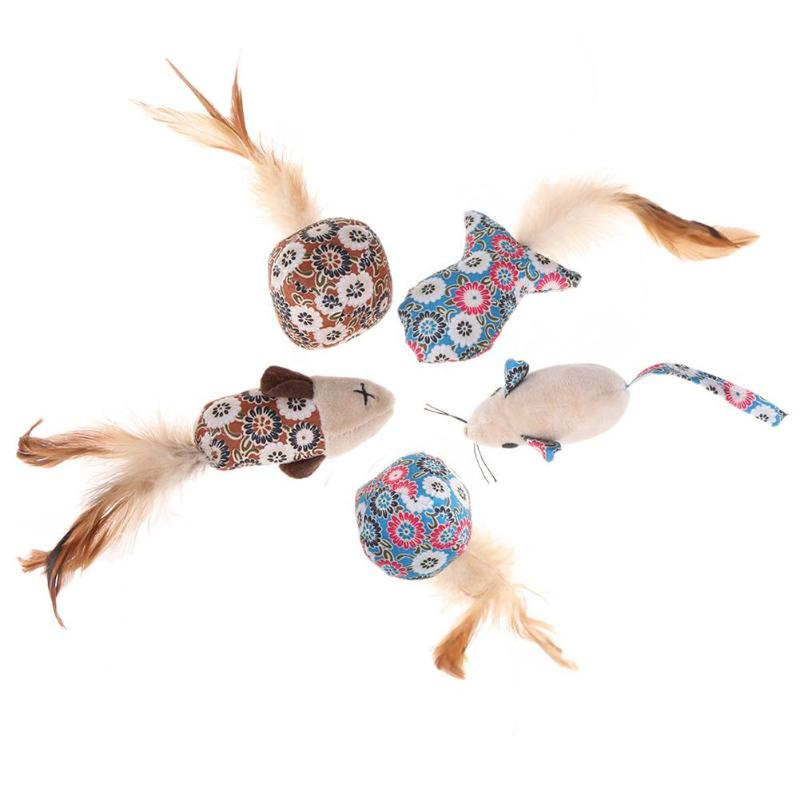 5pcs Cat Toys Mouse Fish Ball Feather Toy with Mint Funny Cat Teaser Interactive Toy for Pet Supplies Gift