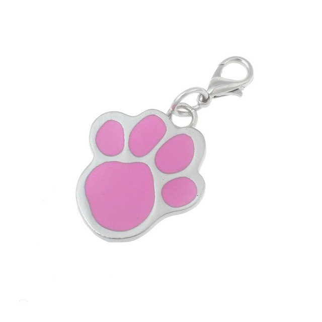 Pet Collar Paw Print Stainless Steel Pendant Cat Dog Choker Necklaces Accessories