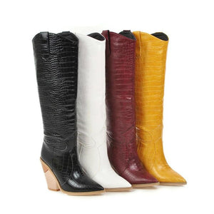 Yo boots Black Yellow White Knee High Boots