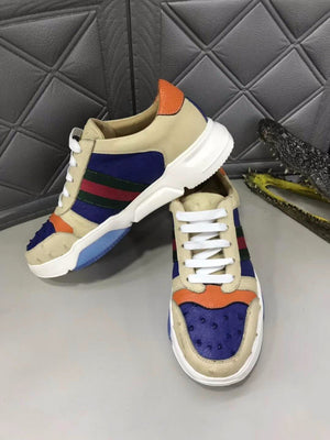 Genuine real Ostrich skin leather men sneakers
