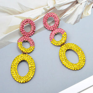 Dangle Round bling earrings