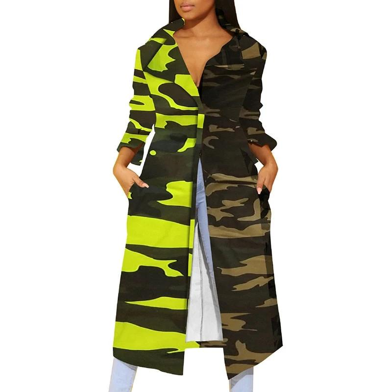 Two sided trench amy camouflage coat