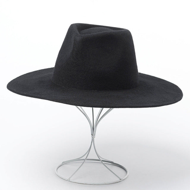 Classical Wide Brim Fancey Fedora Hat 100% Wool