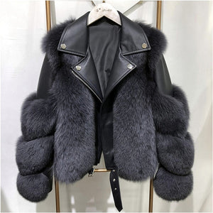 Real Fox Fur Coats With Genuine Sheepskin Leather