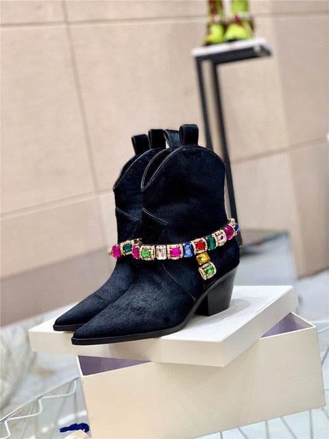 Sue Horse hair boots with diamond chain and wedge heel