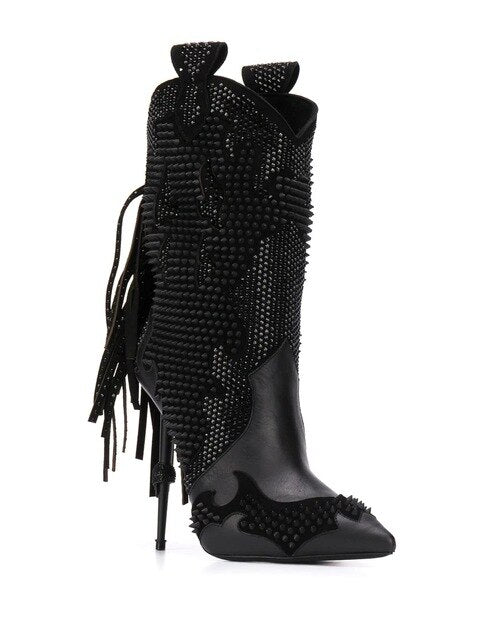 West Tassel Short Boots Black with Crystal