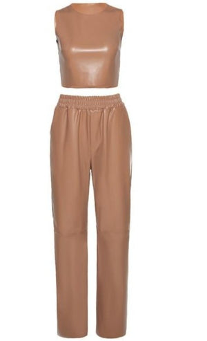 Two piece crop top and pants Faux leather set