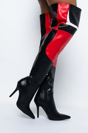 Shawn Over Knee Boots thin High Heel  Pu Leather Pointed toe