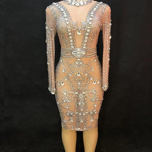 Trouble Rhinestone see throught dress