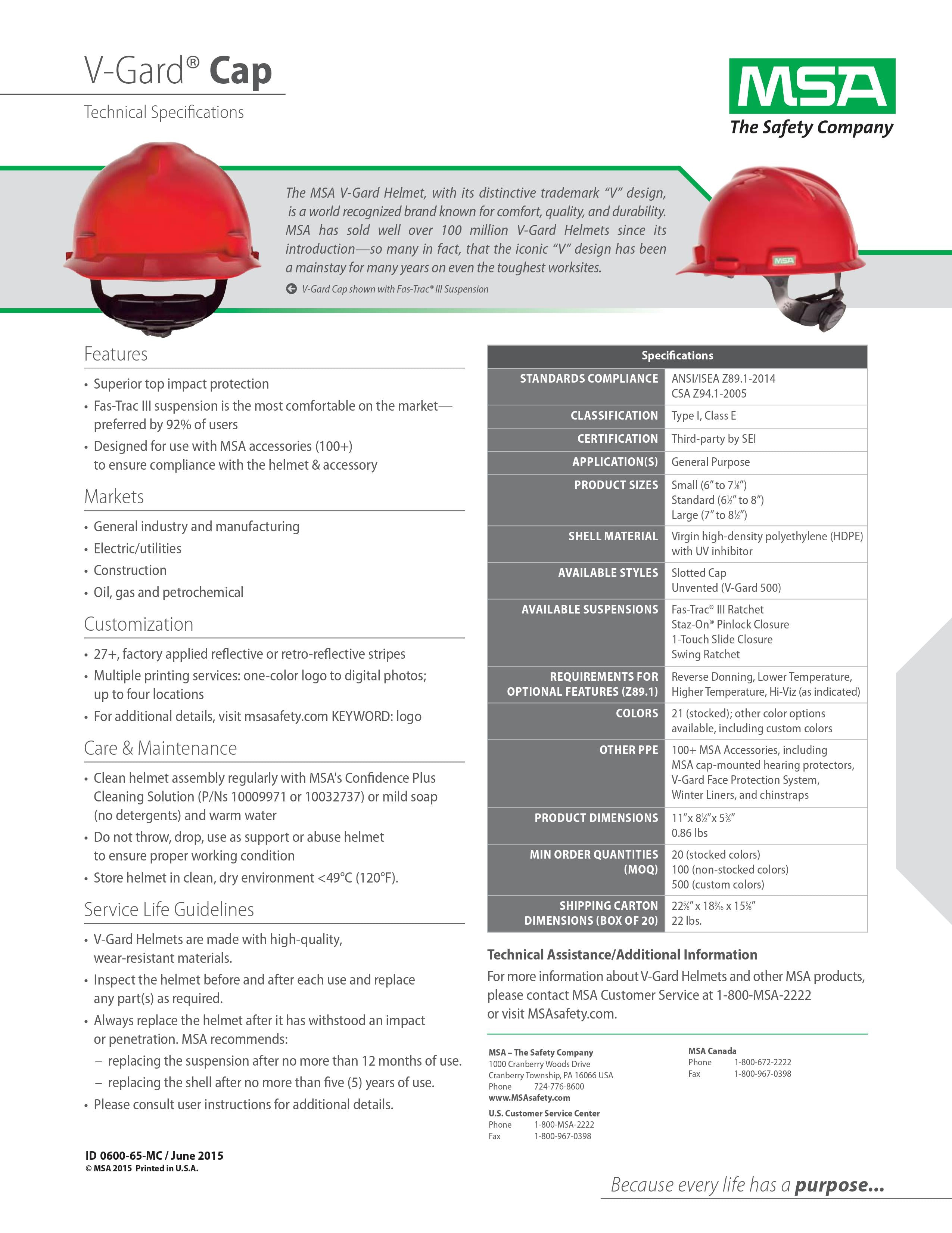 MSA V-Guard Cap Info Sheet