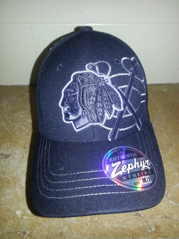 27 CHICAGO BLACKHAWKS BLACK ICE  TOMAHAWKS LOGO ZEPHYR FITTED