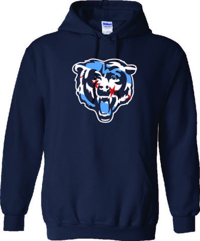 Chicago Flag Bears Face Hoodie