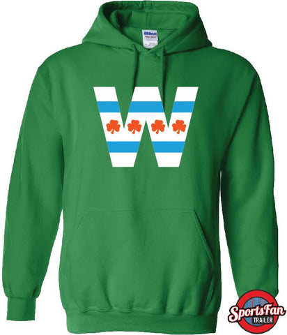 W Shamrock Chi Flag Irish Green Hood