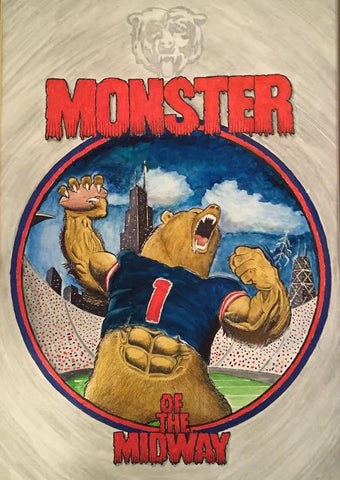 MONSTER OF THE MIDWAY 16x20 watercolor paintings,framed and matted