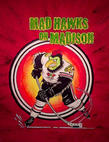 MAD HAWKS ON MADISON 16x20 watercolor paintings,framed and matted