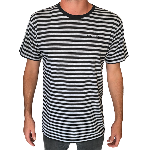 Volcom - Harry Stripe Tee (Black/Grey Mel Stripe)