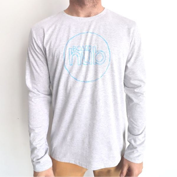 Boardhub - Classic Logo Tee L/S (Heather Grey/Blue)