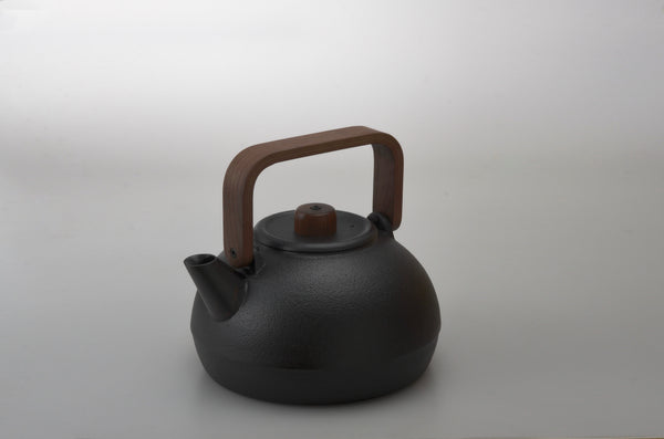 Cast Iron Kettle with Wood Handle by Hisanori Masuda