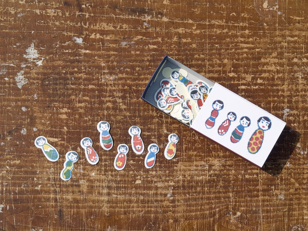 Kokeshi Dolls  Flake Stickers in Matchbox by Classiky